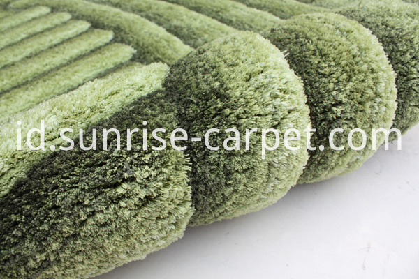Microfiber Shaggy 3D Rug with Green Color