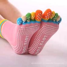 Женские хлопковые нескользящие нескользящие нескользящие носки для йоги с открытым носком без носка для пилатеса
