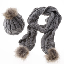 Women lady woolen pure plain custom fashion winter warm knitted wholesale hat and scarf sets
