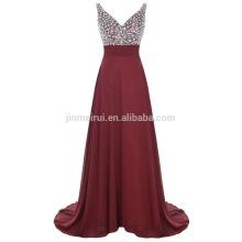 Vestidos Fiesta Fahsion Robe De Soiree 2016 Alta Qulaity Una línea de cristales rebordeados Sequined largo vestido de noche de baile