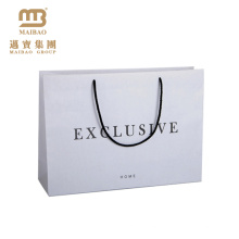 Wholesale Matte Laminated Customized Personalized Logo Gift Carrier Packaging White Paper Bags With Rope Handles