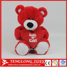 Regalo de San Valentín de felpa de peluche rojo oso de juguete suave de oso