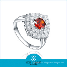 Große rote CZ Silber Schmuck Persönlichkeit Ring (SH-R0605)