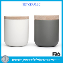 Tarros de cerámica de cerámica mate con la tapa de madera