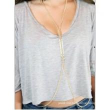 Fashion golden plated fish bone chain body jewelry sexy jewelry for women