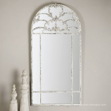 Distressed Aged White Framed Wall Decorative Mirror for Wall Decorations