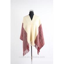 Ladies 2 tone plain winter poncho shawl