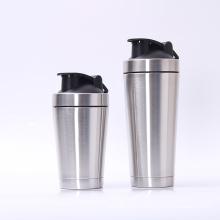 Botella de agua de deportes botella de la coctelera de la proteína del acero inoxidable de la pared doble