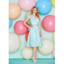 Wholesale Good Quality New Cheap Cap Sleeve Lace Short A Line Bridesmaid Dresses LBS04