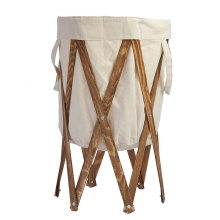 collapsible storage laundry hamper with stained wood frame