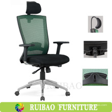Eco-Friendly Functional Executive Teal Office Chair with Headrest Adjustable / Ergonomic Office Task Chair with T-arms