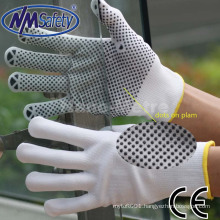 NMSAFETY pvc dotts on palm anti-slip knitted hand work gloves