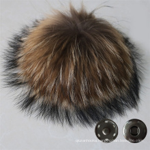 Genuine Fur Pompom Raccoon Fur Pompoms with button