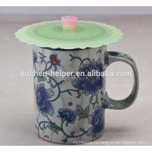Caliente vendiendo FDA aprobó la taza linda de la taza del silicón de la taza de café del Anti-polvo del grado alimenticio