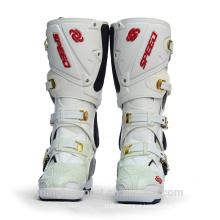 Venda quente Branco E Preto Moda botas de Motocicleta de couro alta tornozelo Motocross sapatos