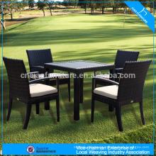 Conjunto de mesa de pátio de jardim vime espreguiçadeira cadeira de jantar conjunto