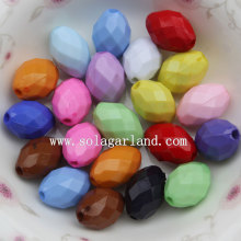 Opaque Colors Acrylic Faceted Oval Beads for Jewelry Parts