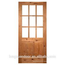 Interior glass door with double 5mm temoered glass solid Pine wood door wood glass door design