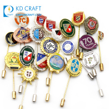 High quality cheap custom metal enamel printed epoxy badge gold silver men's suit coat brooch long needle lapel pin for sale