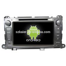 Android System lecteur dvd de voiture pour Toyota Sienna avec GPS, Bluetooth, 3G, ipod, jeux, double zone, contrôle du volant