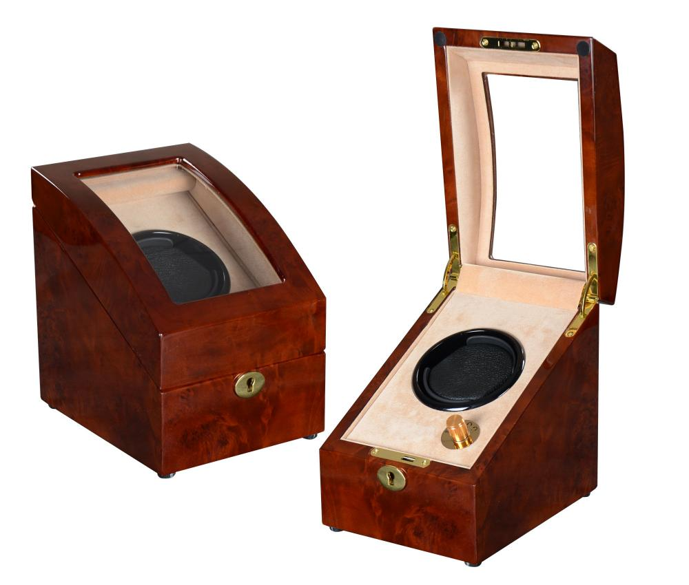 Ww 8221 Coffe Wood Watch Winder With Cream Velvet
