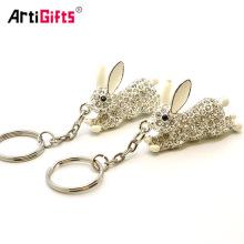Korean Style Smart Bunny Diamond Key Chain Rabbit Keychain