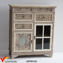 French Solid Wood Carved Living Room Side Cabinet
