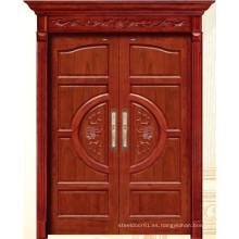 China Puerta de madera doble de lujo con talla