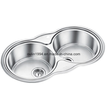 """1 Hole 34"""" Oulin Round Double Bowl 37/37 Stainless Steel Drop in Sink"""