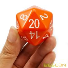 Bescon Jumbo D20 38MM, Big Size 20 Seiten Würfel Opaque Orange, Big 20 Faces Cube 1,5 Zoll