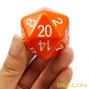 Bescon Jumbo D20 38MM, Big Size 20 Sides Dice Opaque Orange, Big 20 Faces Cube 1.5 inch