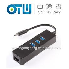USB 3.1 Type C vers Gigabit Ethernet Réseau + USB 3.0 Hub Adaptateur LAN de câble 3 ports