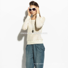 16STC8059 lady hollow silk cashmere shirt