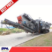 Máquina de esmagamento móvel agregada da eficiência elevada, planta de esmagamento de pedra móvel do granito