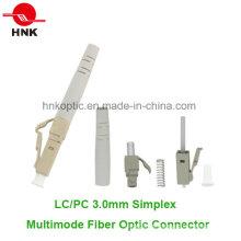 LC PC 3.0mm Simplex Multimodo Fibra Óptica Conector