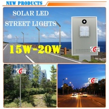 Горячая продажа Открытый сенсорный литой алюминиевый солнечный 15W Светодиодный уличный фонарь
