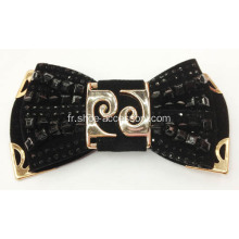 2013 Nouvelle Bowknot Design Fabric Shoe Flower avec Black Acrylic Beads Decoration