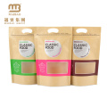 Custom Design Stand Up Zip Lock Food Packaging Brown Kraft Paper Window Bags
