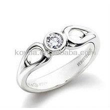 Bague de fiançailles en diamant en argent 925 en argent sterling