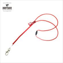 Orange Color Creative Phone String Zipper Lanyards avec étiquette en caoutchouc