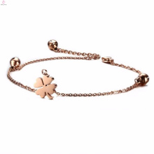 2017 four leaf clover charms rose gold pendant hotwife bracelet ankle with bells