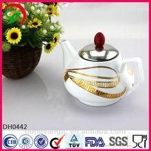 Fertigen Sie keramische Teekannen des Logos besonders an, die mit Edelstahlabdeckung groß sind