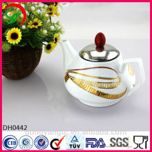 Customize logo ceramic teapots wholesale with Stainless steel cover