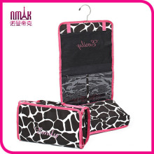 Zebra Hot Pink Hanging Cosmetic Organizer Bag - Roll up for Storage and Travel
