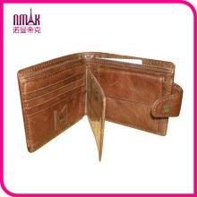 Stylish Brown Billfold Coffee Cowhide Leather Wallet Credit Card Men′s Purse Clutch Billfold