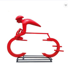 Fiberglass Abstract Ride on a Bicycle Statue for Garden Decoration