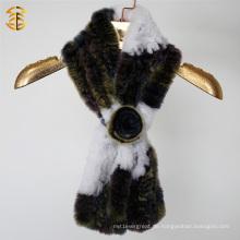 Mode 2016 Genuine Kaninchen Pelz Gestrickte Frauen Schal