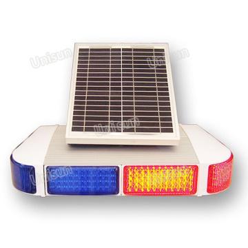 12V Solar-Power Blue Red LED Signal de signalisation de trafic Signal d'avertissement