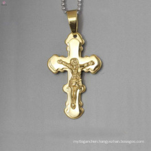 Top selling stainless steel jesus cross pendant, gold cross pendant