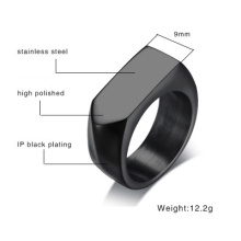 Mens Titanium Steel Blank Yta Square Ring